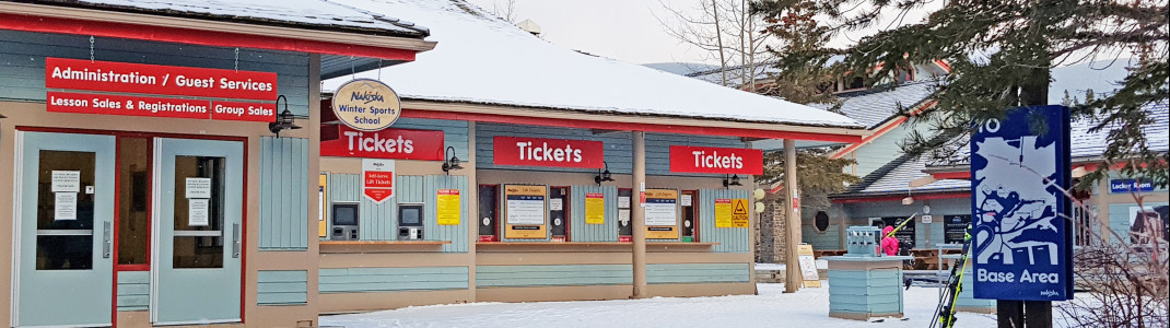 Visitor service and ticket booth at Nakiska.