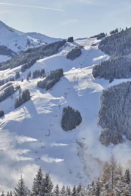 Neben der 12er KOGEL Bahn verläuft die Weltcup-Abfahrt.