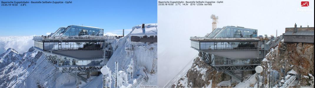 Wie tief winterlich es aktuell noch auf der Zugspitze aussieht, zeigt sich besonders gut im Vorjahresvergleich (links 23. Mai 2019, rechts 23. Mai 2018).