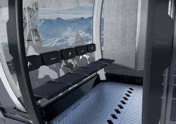 Ski können während der Fahrt im Innern der Kabinen befestigt werden.