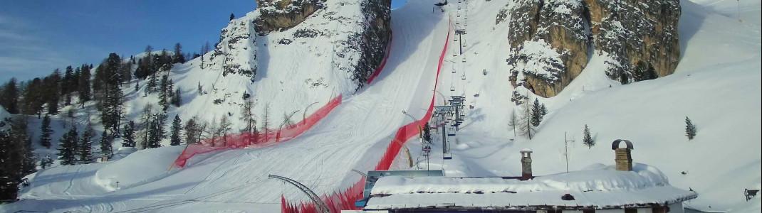 Die Schneebedingungen wären aktuell perfekt auf der Weltcupstrecke in Cortina d'Ampezzo.