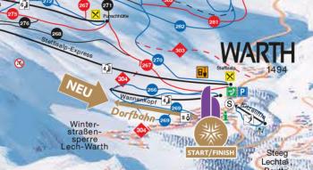 Blick auf den neuen Pistenplan von Ski Arlberg. Natürlich ist die neue Dorfbahn bereits groß eingezeichnet.