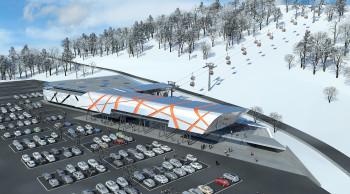 Die neue multifunktionale Talstation bietet eine bessere Anbindung an den öffentlichen Verkehr, zahlreiche Parkplätze, ein Restaurant sowie Skishop, -verleih und -depot.