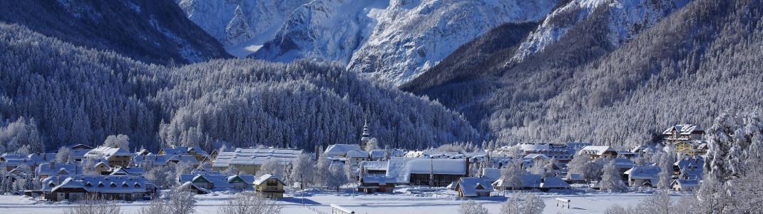 Der slowenische Skiort Kransjka Gora liegt direkt an der Grenze zu Österreich.