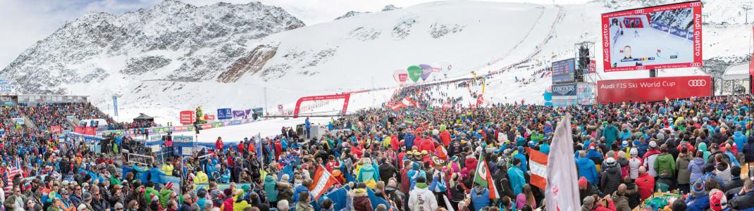 Im Ziel am Rettenbachgletscher werden wieder Tausende Fans erwartet. Wer einen gültigen Skipass hat, kann das Spektakel gratis erleben.