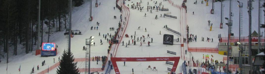 Blick auf den Weltcuphang während der Besichtigung der Slalomfahrer.