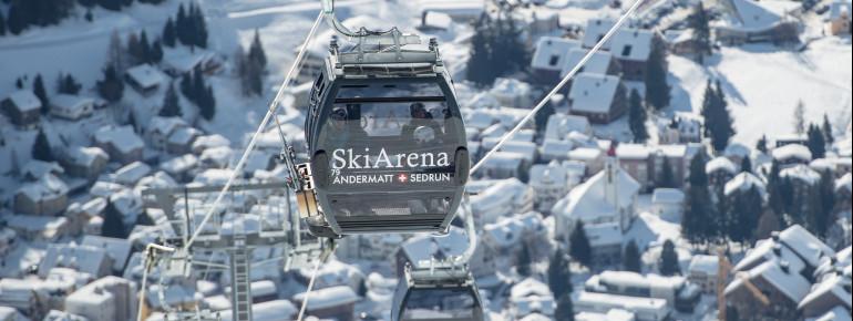 Die SkiArena Andermatt-Sedrun bietet 120 Pistenkilometer in sämtlichen Schwierigkeitsstufen.