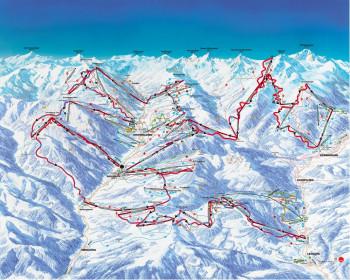 Der Verlauf der Ski-Runde ist rot im Pistenplan eingezeichnet.