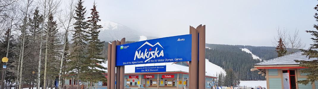 Der Eingangsbereich in Nakiska, Kananaskis Country, Alberta, Kanada