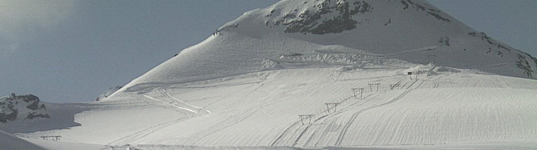 Blick aus der Webcam auf die Gletscherpisten (6. Juni 2019)