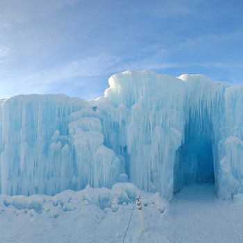 The impressive Ice Castles in Edmonton.