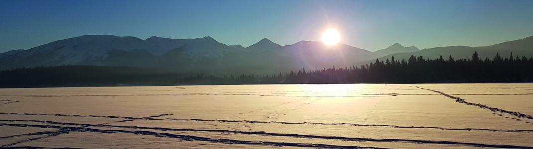 Sun set at Pyramid Lake at Jasper National Park.