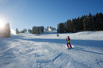 At Lipno, beginners have enough space to take their first swings on skis.