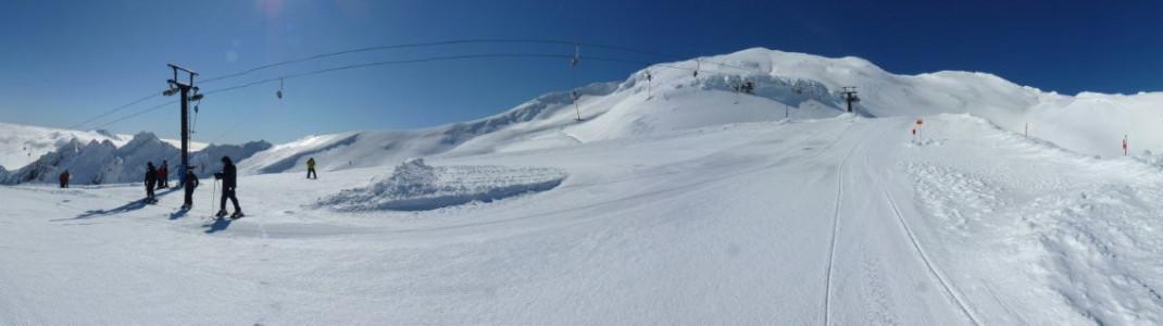 Panoramic view of the slopes in the Whakapapa ski resort on Mount Ruapehu.