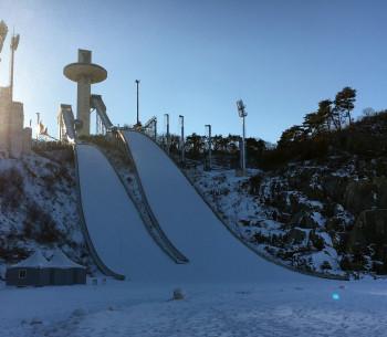 Blick auf die beiden Olympiaschanzen im Alpensia Sports Park in Pyeongchang (Südkorea).