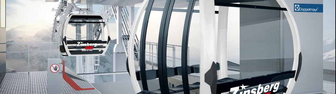 In den Panoramagondeln der Zinsbergbahn haben 10 Personen Platz.
