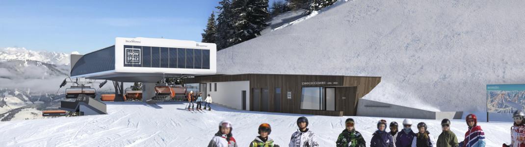 Blick auf die neue Bergstation der Sonntagskogelbahn2.