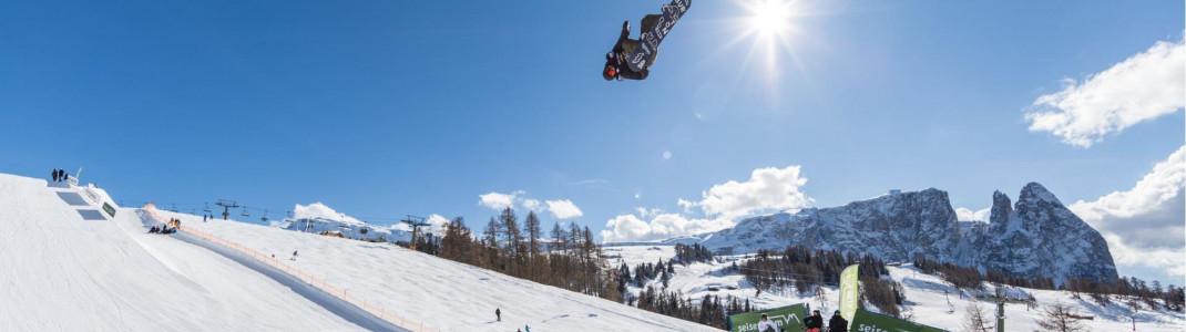 Im Januar wird im Snowpark auf der Seiser Alm wieder der Sieger im Slopestyle gesucht.