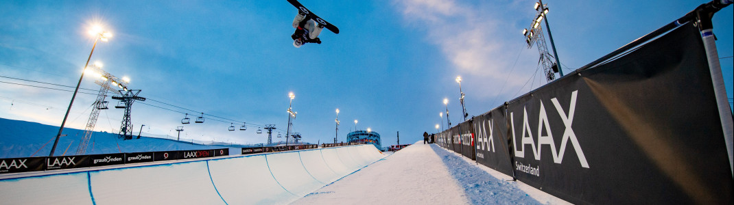 One of the largest snow parks in the world is located in Laax.