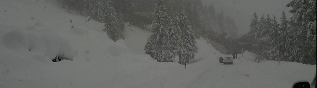 Gegen 14 Uhr traf eine Lawine die Straße zum Stubaier Gletscher. Mehrere Skifahrer waren da gerade auf dem Heimweg.
