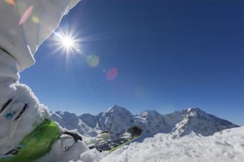 Traumpanorama und schneesichere Pisten erwarten Skifahrer in Sulden am Ortler.