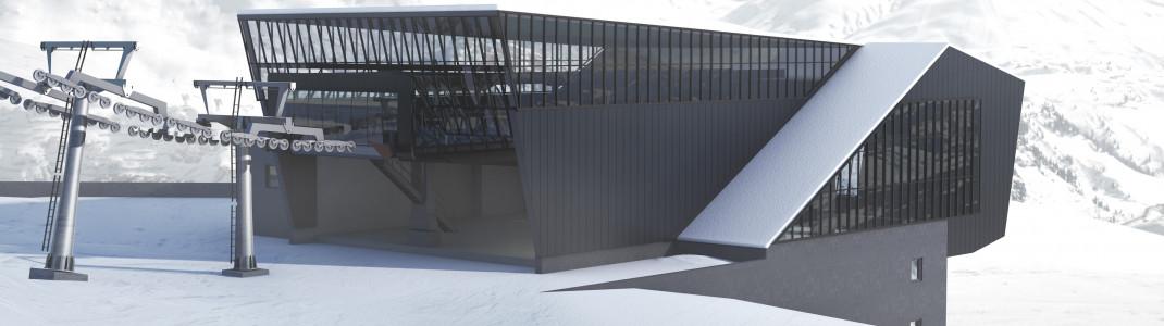 Im Winter 2019/20 bereichert die neue Schindlergratbahn das Skigebiet von St. Anton am Arlberg. Hier die neue Talstation.