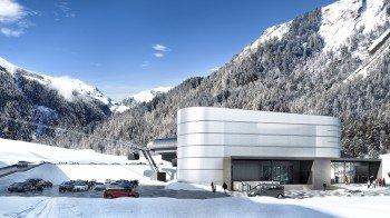 """Die neue Talstation der """"3S Eisgratbahn"""" (im Bild) am Stubaier Gletscher befindet sich 600 Meter unterhalb der bestehenden Talstation Mutterberg."""