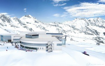 Die modernisierte Bergstation Eisgrat (2.900 Meter) am Stubaier Gletscher.