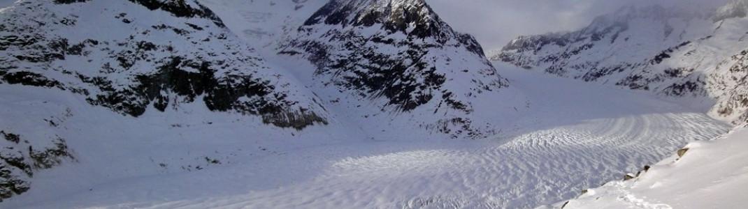 Der Aletschgletscher! Mit mehr als 20km der längste Gletscher der Alpen!