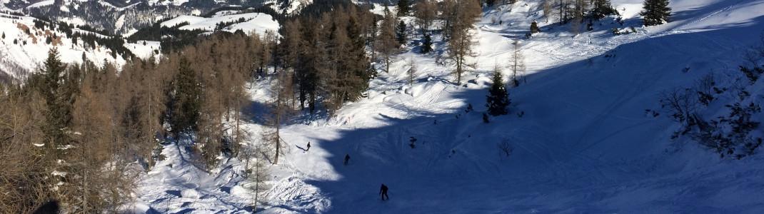 Auch die Skiroute 12 bietet einige Varianten für Freeride und Fans unpräparierter Abschnitte