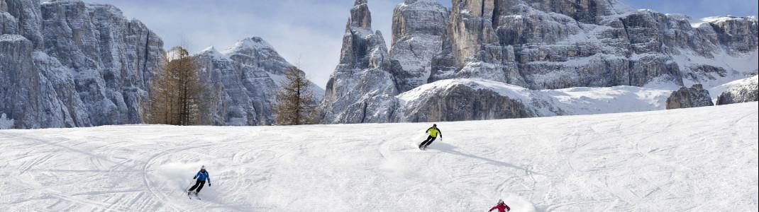 Mit über 50 roten Abfahrtskilometern finden auch Könner in Alta Badia ein großes Pistenangebot.