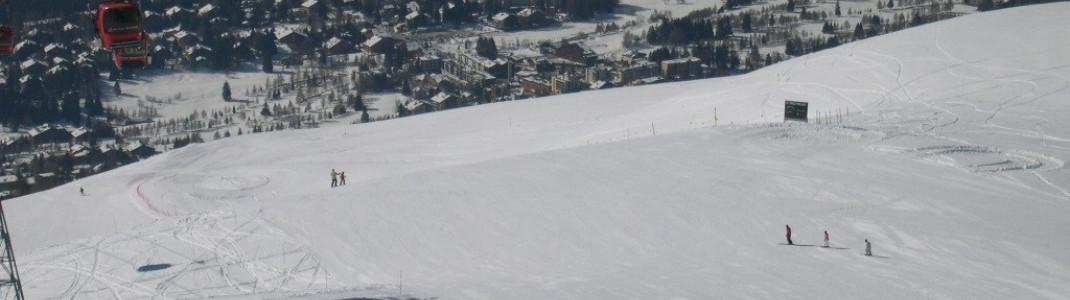 Crans und Montana liegen auf einer 1500m hohen Ebene weit oberhalb des Wallis