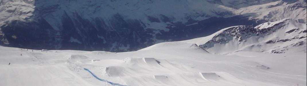 Blick auf den Beginner's Snowpark am Oberjochlift im First Gebiet