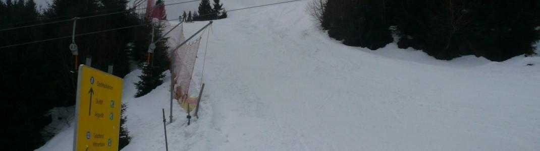 Talabfahrt (12) an der Bergstation Dorflift (D)!