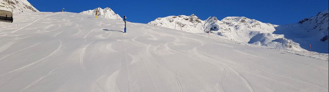 Auf den breiten Abfahrten können sich Boarder und Skifahrer richtig austoben.