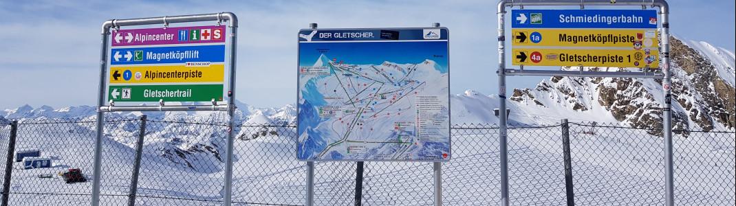 Die Pisten im Skigebiet sind gut ausgeschildert.