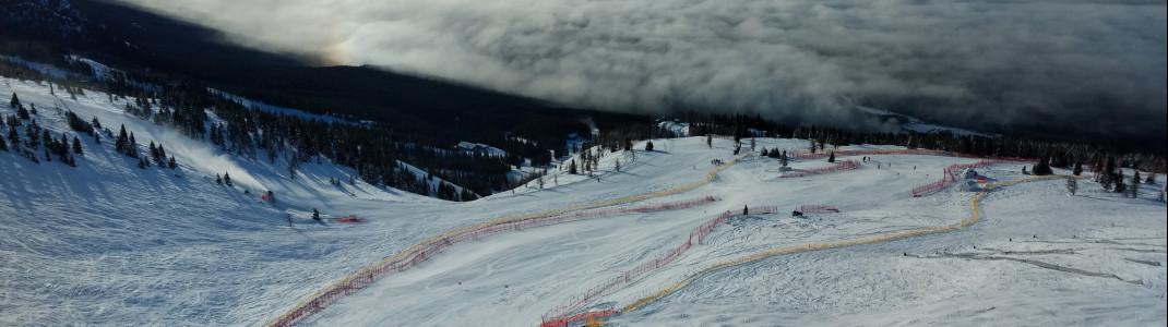 Es ist schwer alle Facetten des Skigebiets Lake Louise auf einem Foto unterzubringen