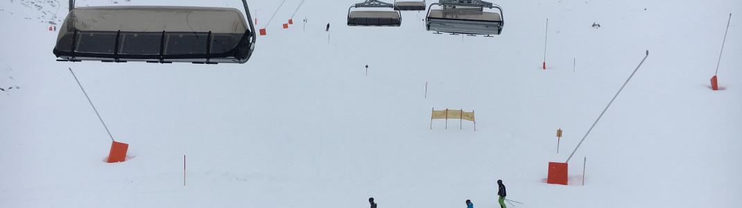 Schneesicher bis April: Bis auf 2500 Meter reichen die Pisten hier am Rastkogel.