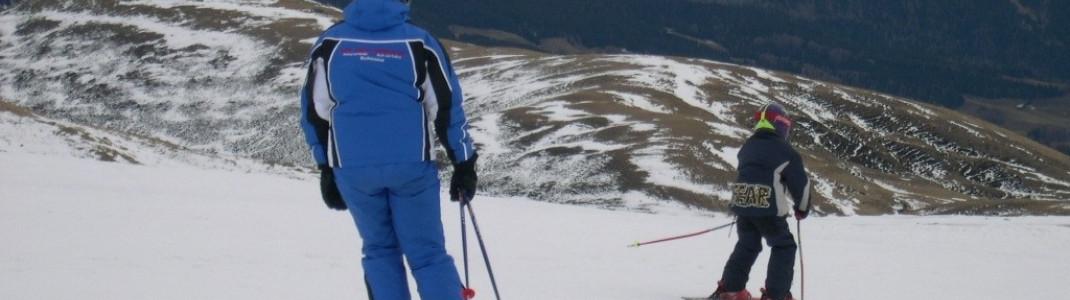 Fahren unter Anweisung des Skilehrers!