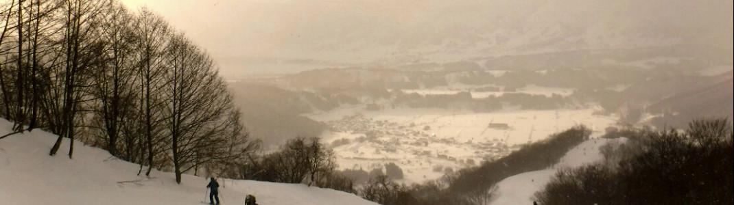 Aussicht von der Paradise Abfahrt ins Tal.