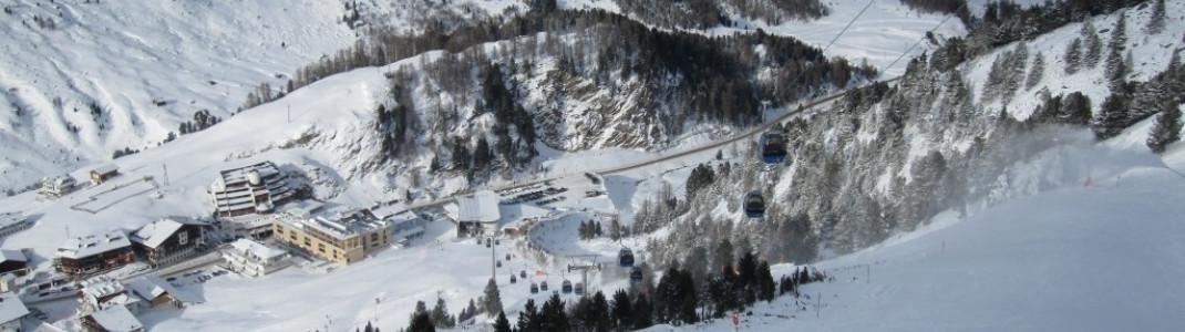 Blick von der Piste 3 zur Talstation der Festkoglbahn!