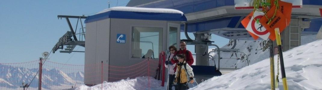 Leider nur zwei Sessellifte in Ovronnaz. Hier die Bergstation von Lift B.