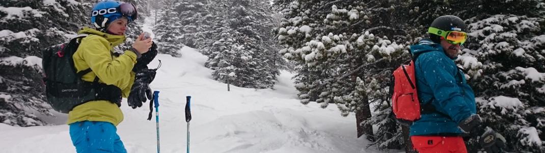 Verschneite Tiefschneehänge bringen grenzenlosen Freeride-Spaß.