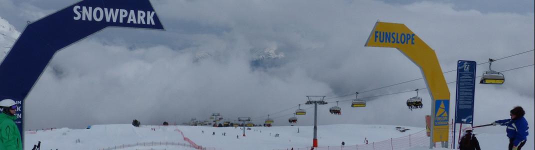Die Funslope und der Funpark im Skigebiet Schöneben.