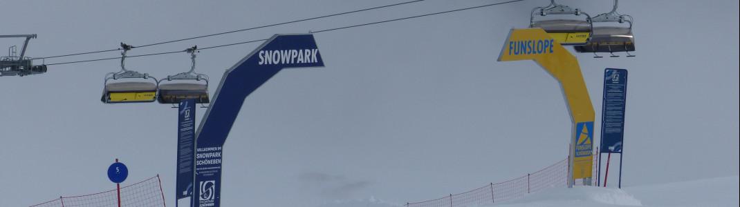 Einstieg in Funslope und in den Snowpark