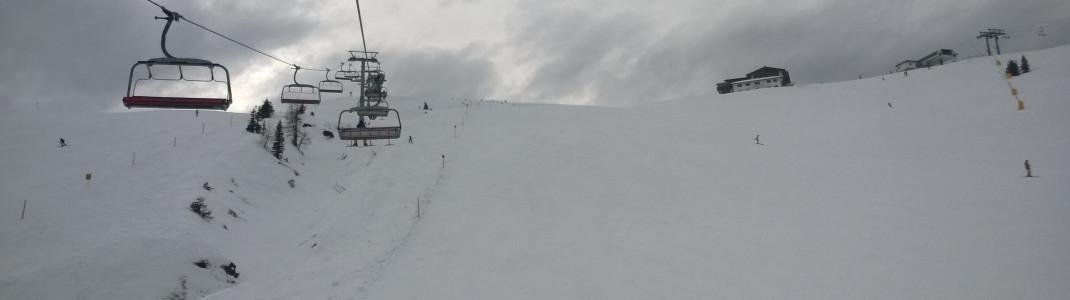 Schöne breite Pisten: Carver Liebhaber erfreuen sich besonders an den Gipfelabfahrten am Schatzberg.