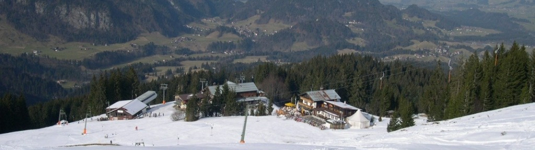 Blick ins Allgäu und auf das Berghaus Schönblick!
