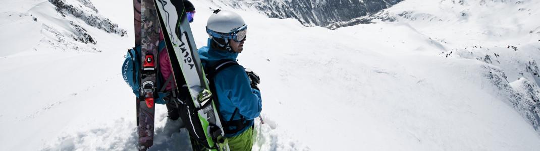 Auf einer der 12 nummerierten Powder Runs am Stubaier Gletscher