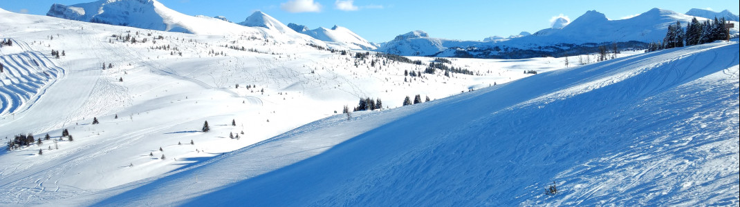 Breite, steile Abfahrten sind ein Genuss für fortgeschrittene Skifahrer