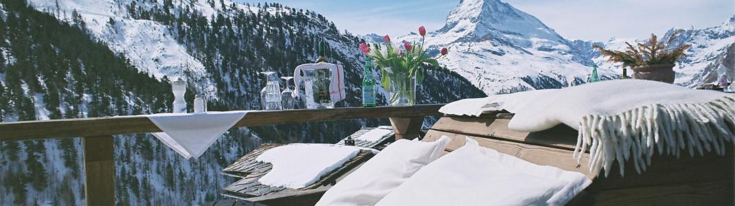 Laut dem englischen Telegraph unter den besten Bergrestaurants der Welt: Das Chez Vrony in Findeln im Teilgebiet Sunnegga